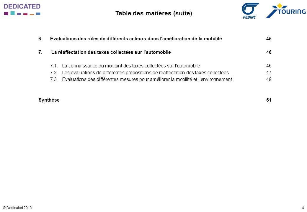 4© Dedicated 2013 Table des matières (suite) 6.Evaluations des rôles de différents acteurs dans l'amélioration de la mobilité45 7. La réaffectation de