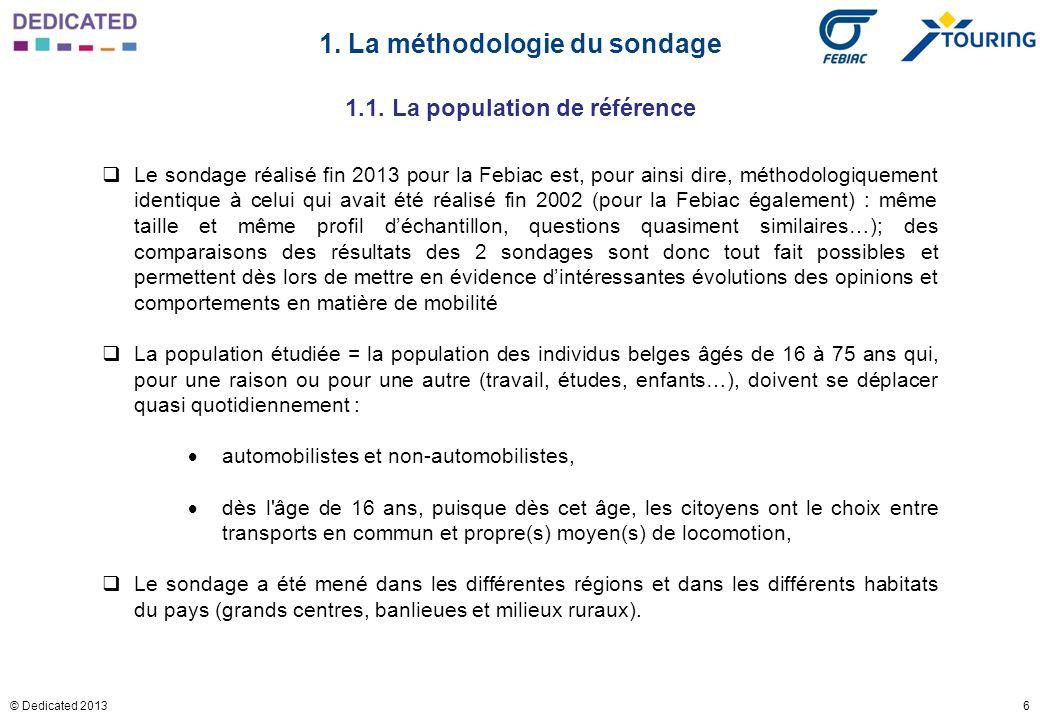 6© Dedicated 2013 1. La méthodologie du sondage Le sondage réalisé fin 2013 pour la Febiac est, pour ainsi dire, méthodologiquement identique à celui