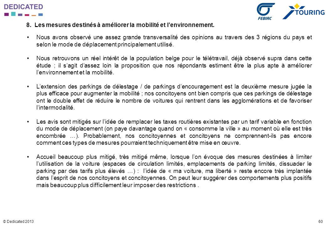 60© Dedicated 2013 8. Les mesures destinés à améliorer la mobilité et lenvironnement. Nous avons observé une assez grande transversalité des opinions