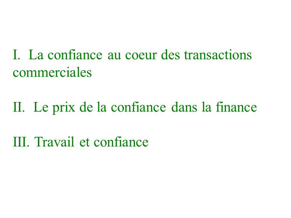 I.La confiance au coeur des transactions commerciales * Quel est le prix payé pour la confiance.