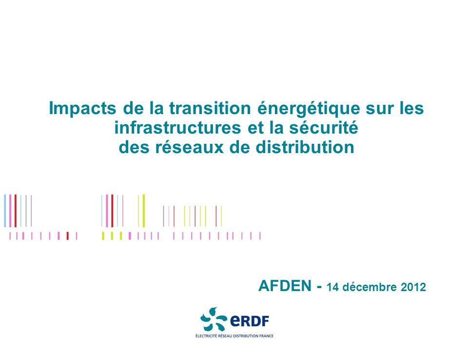Impacts de la transition énergétique sur les infrastructures et la sécurité des réseaux de distribution AFDEN - 14 décembre 2012