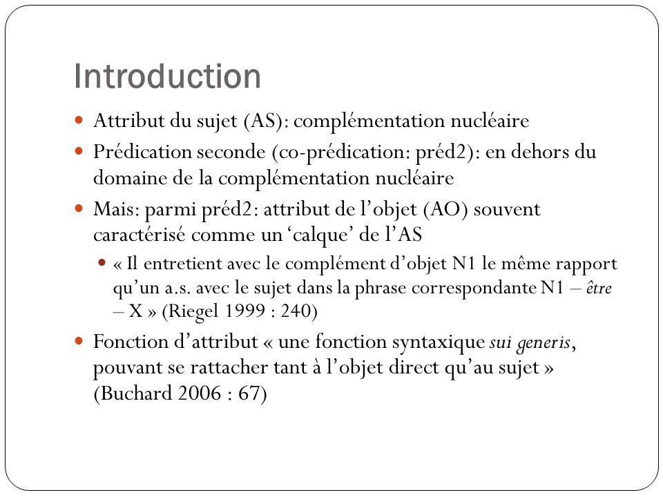 Introduction Attribut du sujet (AS): complémentation nucléaire Prédication seconde (co-prédication: préd2): en dehors du domaine de la complémentation nucléaire Mais: parmi préd2: attribut de lobjet (AO) souvent caractérisé comme un calque de lAS « Il entretient avec le complément dobjet N1 le même rapport quun a.s.