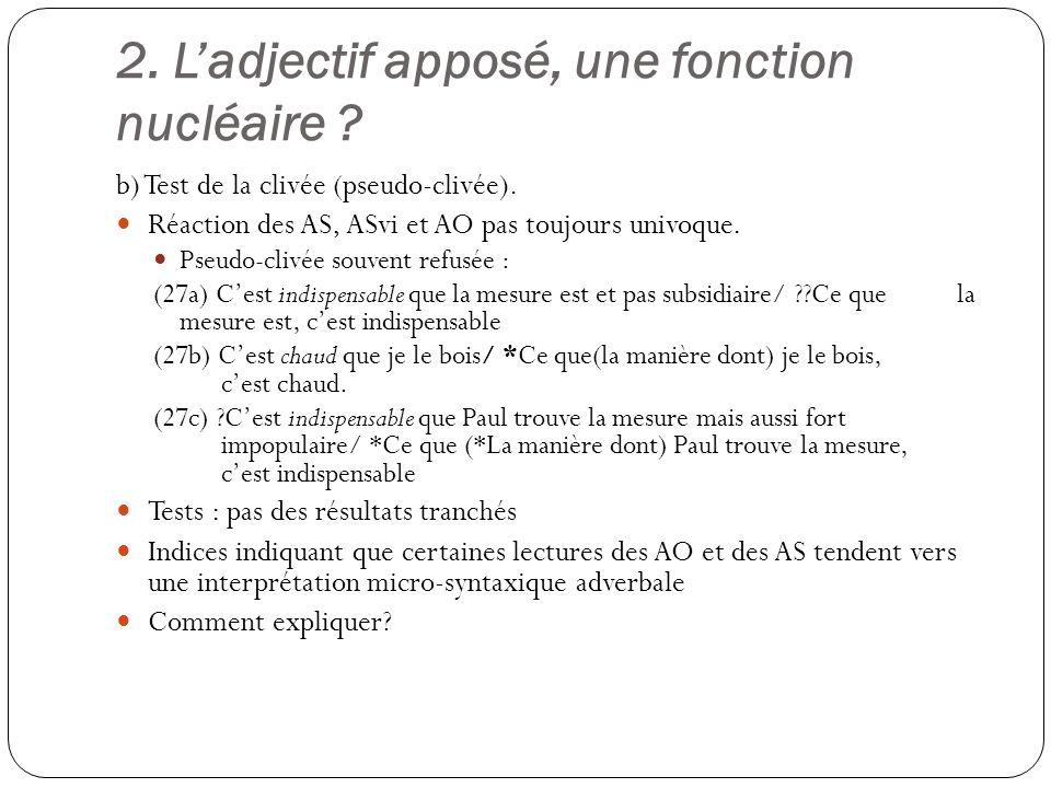 2.Ladjectif apposé, une fonction nucléaire . b) Test de la clivée (pseudo-clivée).