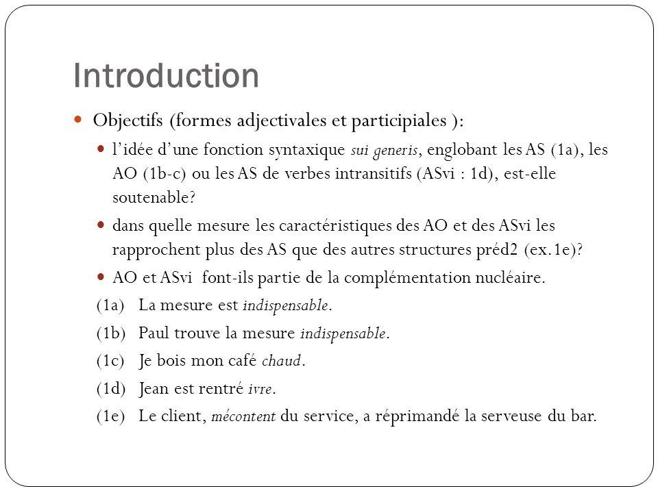 Introduction Objectifs (formes adjectivales et participiales ): lidée dune fonction syntaxique sui generis, englobant les AS (1a), les AO (1b-c) ou les AS de verbes intransitifs (ASvi : 1d), est-elle soutenable.