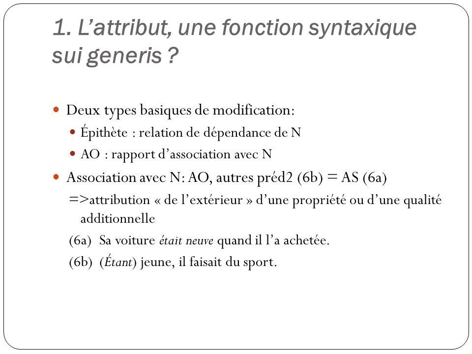 1. Lattribut, une fonction syntaxique sui generis .