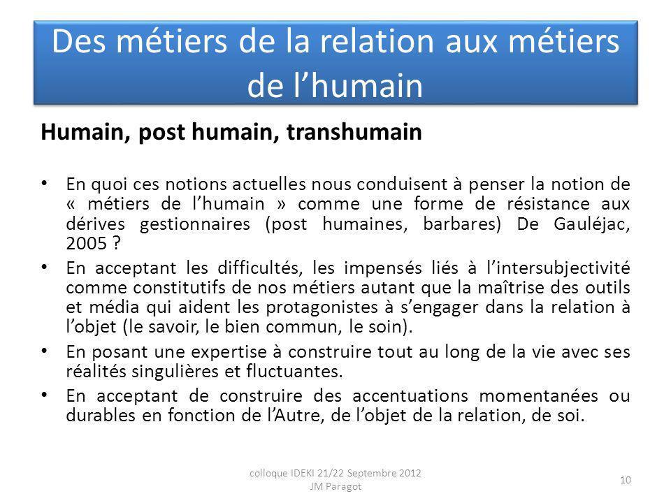 Des métiers de la relation aux métiers de lhumain Humain, post humain, transhumain En quoi ces notions actuelles nous conduisent à penser la notion de « métiers de lhumain » comme une forme de résistance aux dérives gestionnaires (post humaines, barbares) De Gauléjac, 2005 .