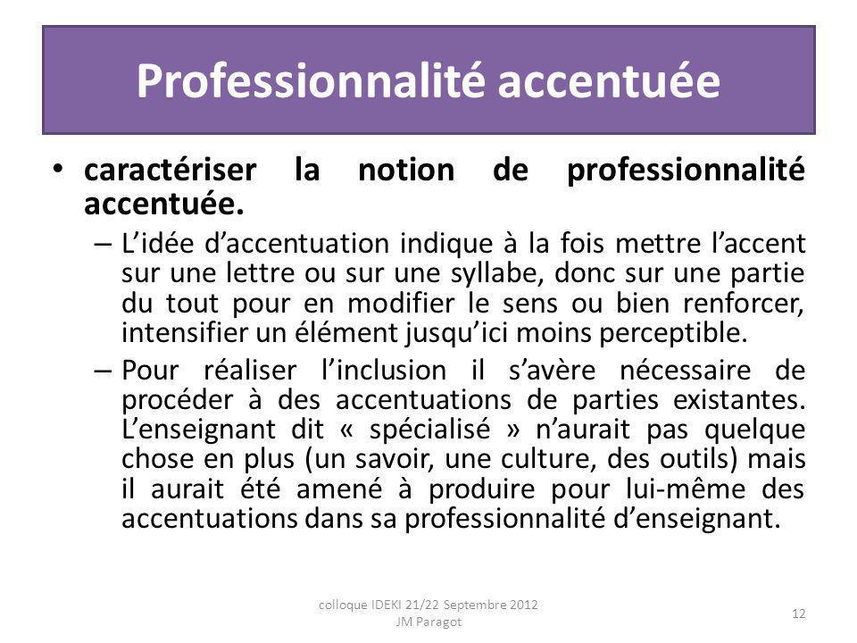 Professionnalité accentuée caractériser la notion de professionnalité accentuée.
