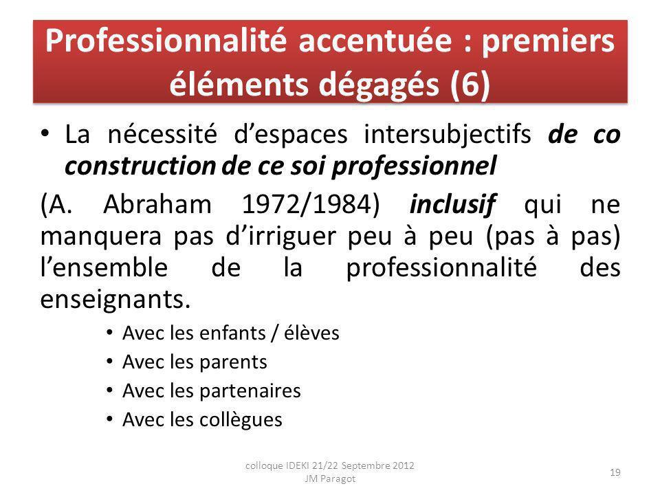Professionnalité accentuée : premiers éléments dégagés (6) La nécessité despaces intersubjectifs de co construction de ce soi professionnel (A.