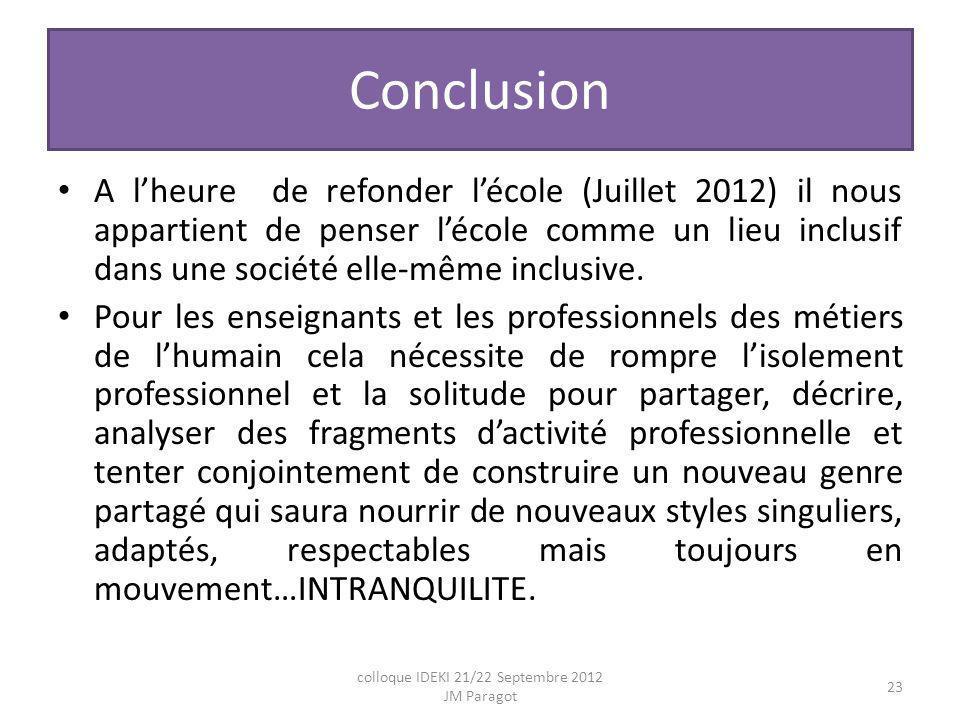 Conclusion A lheure de refonder lécole (Juillet 2012) il nous appartient de penser lécole comme un lieu inclusif dans une société elle-même inclusive.