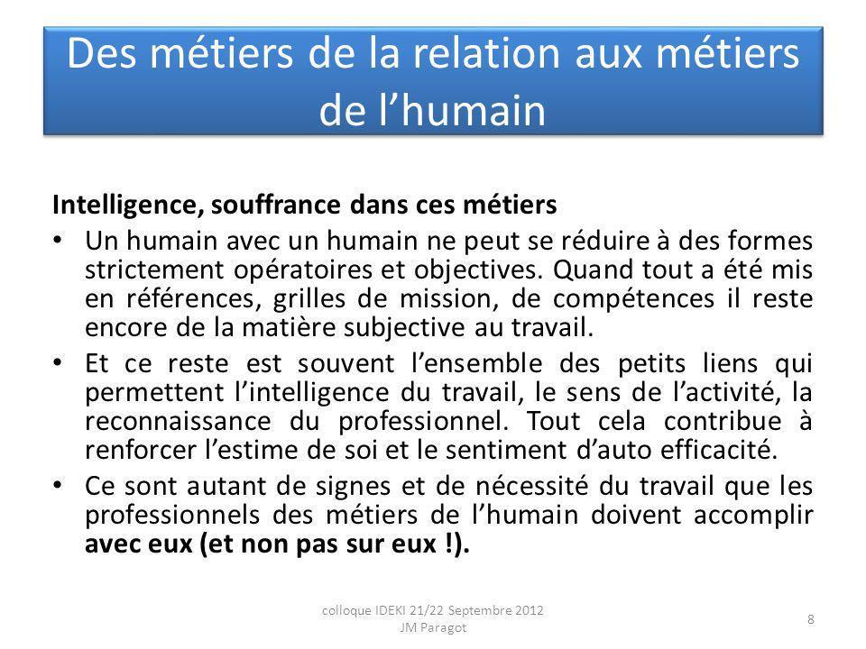 Des métiers de la relation aux métiers de lhumain Intelligence, souffrance dans ces métiers Un humain avec un humain ne peut se réduire à des formes strictement opératoires et objectives.