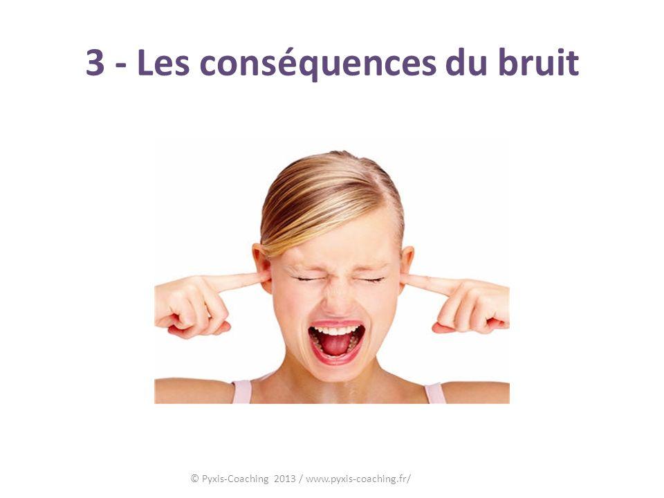 3 - Les conséquences du bruit © Pyxis-Coaching 2013 / www.pyxis-coaching.fr/