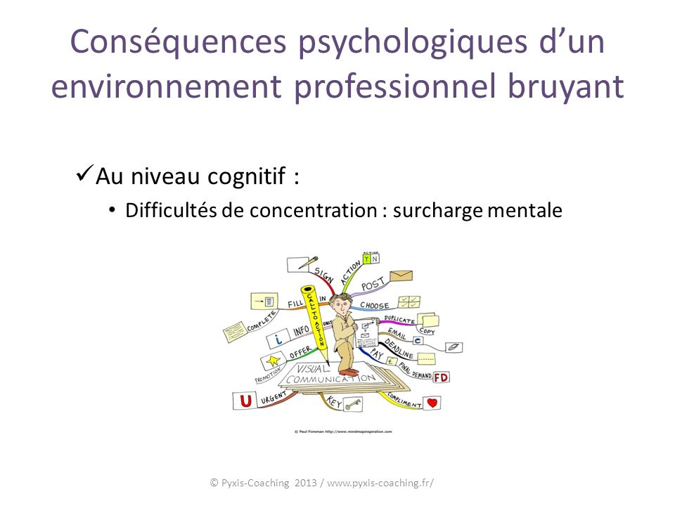 Conséquences psychologiques dun environnement professionnel bruyant Au niveau cognitif : Difficultés de concentration : surcharge mentale © Pyxis-Coaching 2013 / www.pyxis-coaching.fr/