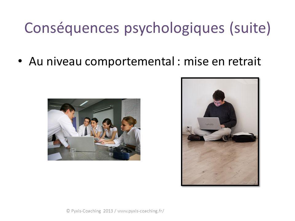 Conséquences psychologiques (suite) Au niveau comportemental : mise en retrait © Pyxis-Coaching 2013 / www.pyxis-coaching.fr/