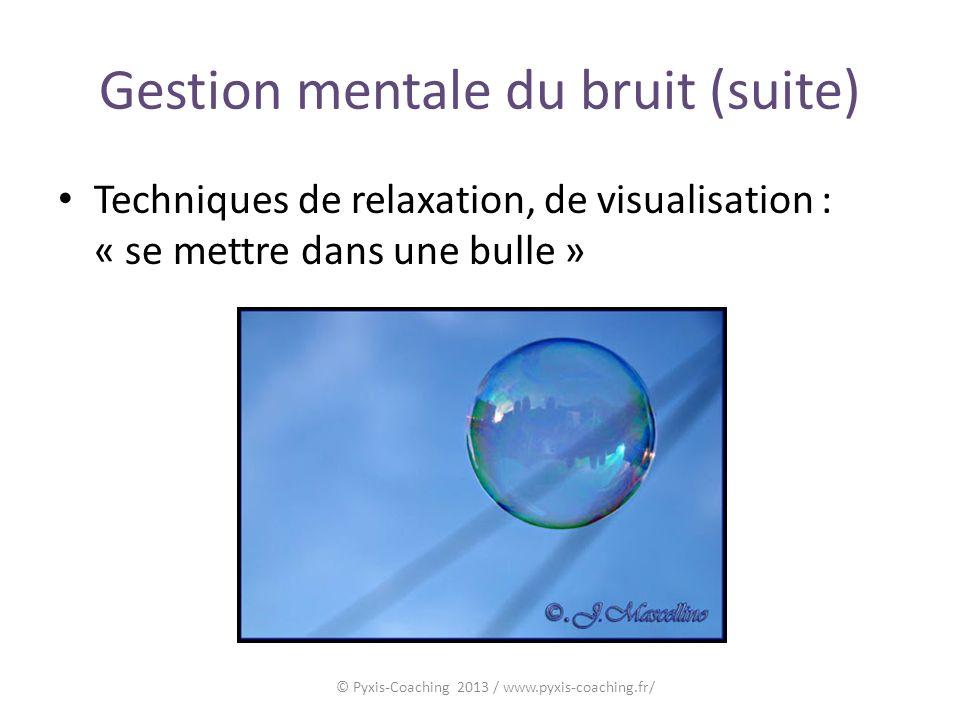 Gestion mentale du bruit (suite) Techniques de relaxation, de visualisation : « se mettre dans une bulle » © Pyxis-Coaching 2013 / www.pyxis-coaching.fr/