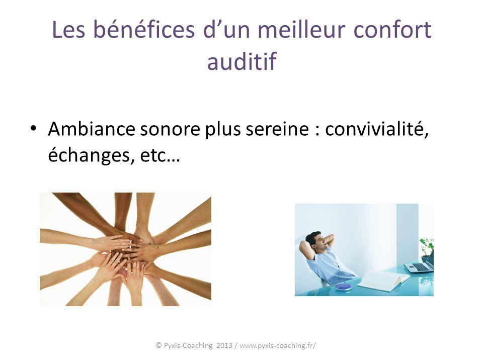 Les bénéfices dun meilleur confort auditif Ambiance sonore plus sereine : convivialité, échanges, etc… © Pyxis-Coaching 2013 / www.pyxis-coaching.fr/