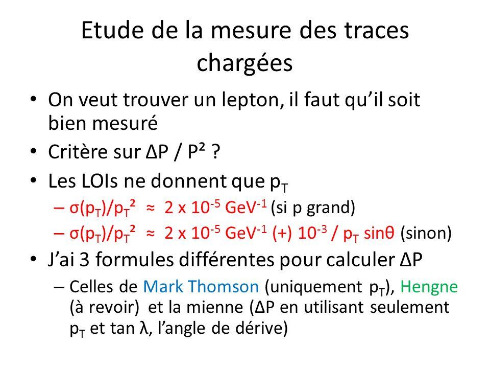 Etude de la mesure des traces chargées On veut trouver un lepton, il faut quil soit bien mesuré Critère sur ΔP / P² ? Les LOIs ne donnent que p T – σ(