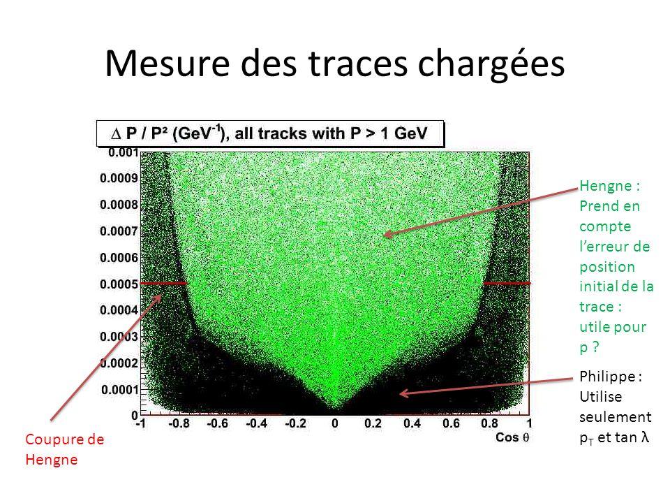 Mesure des traces chargées Hengne : Prend en compte lerreur de position initial de la trace : utile pour p .