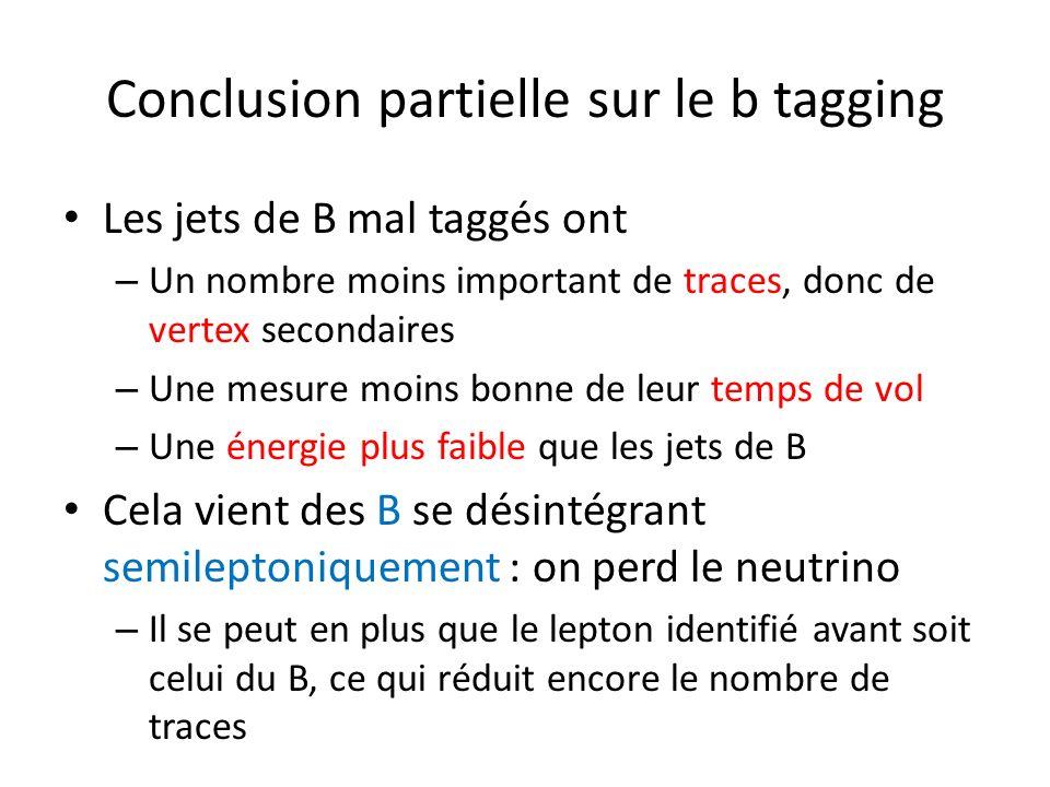 Conclusion partielle sur le b tagging Les jets de B mal taggés ont – Un nombre moins important de traces, donc de vertex secondaires – Une mesure moins bonne de leur temps de vol – Une énergie plus faible que les jets de B Cela vient des B se désintégrant semileptoniquement : on perd le neutrino – Il se peut en plus que le lepton identifié avant soit celui du B, ce qui réduit encore le nombre de traces