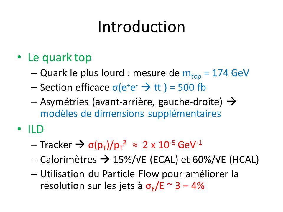 Introduction Le quark top – Quark le plus lourd : mesure de m top = 174 GeV – Section efficace σ(e + e - tt ) = 500 fb – Asymétries (avant-arrière, gauche-droite) modèles de dimensions supplémentaires ILD – Tracker σ(p T )/p T ² 2 x 10 -5 GeV -1 – Calorimètres 15%/E (ECAL) et 60%/E (HCAL) – Utilisation du Particle Flow pour améliorer la résolution sur les jets à σ E /E ~ 3 – 4%