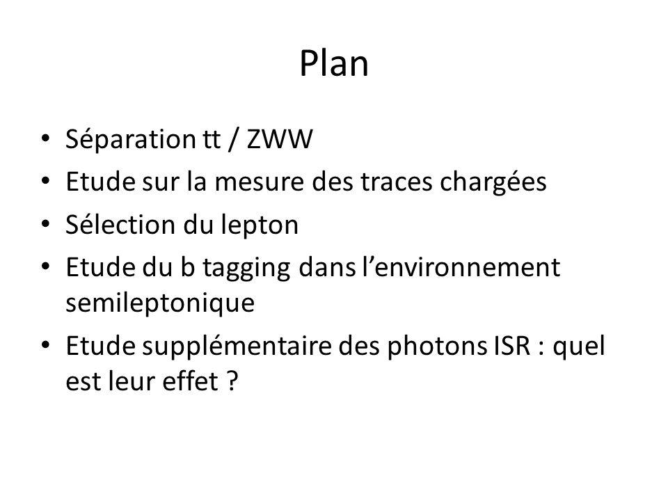 Plan Séparation tt / ZWW Etude sur la mesure des traces chargées Sélection du lepton Etude du b tagging dans lenvironnement semileptonique Etude supplémentaire des photons ISR : quel est leur effet