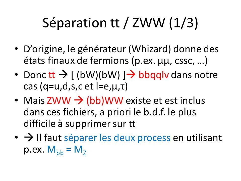 Séparation tt / ZWW (1/3) Dorigine, le générateur (Whizard) donne des états finaux de fermions (p.ex. µµ, cssc, …) Donc tt [ (bW)(bW) ] bbqqlv dans no