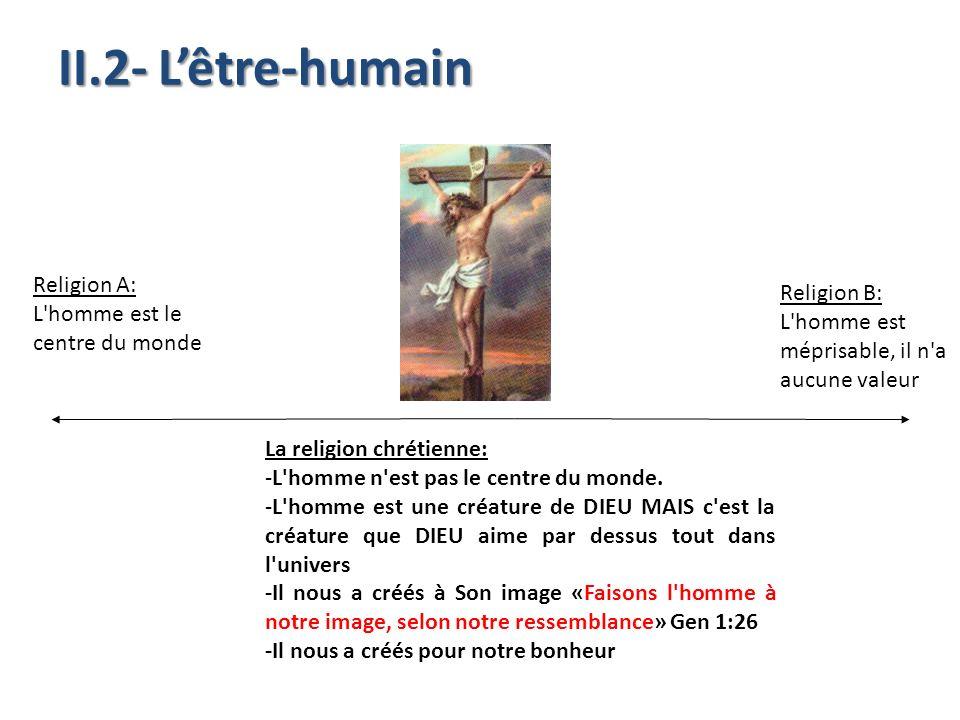 La religion chrétienne: -L'homme n'est pas le centre du monde. -L'homme est une créature de DIEU MAIS c'est la créature que DIEU aime par dessus tout