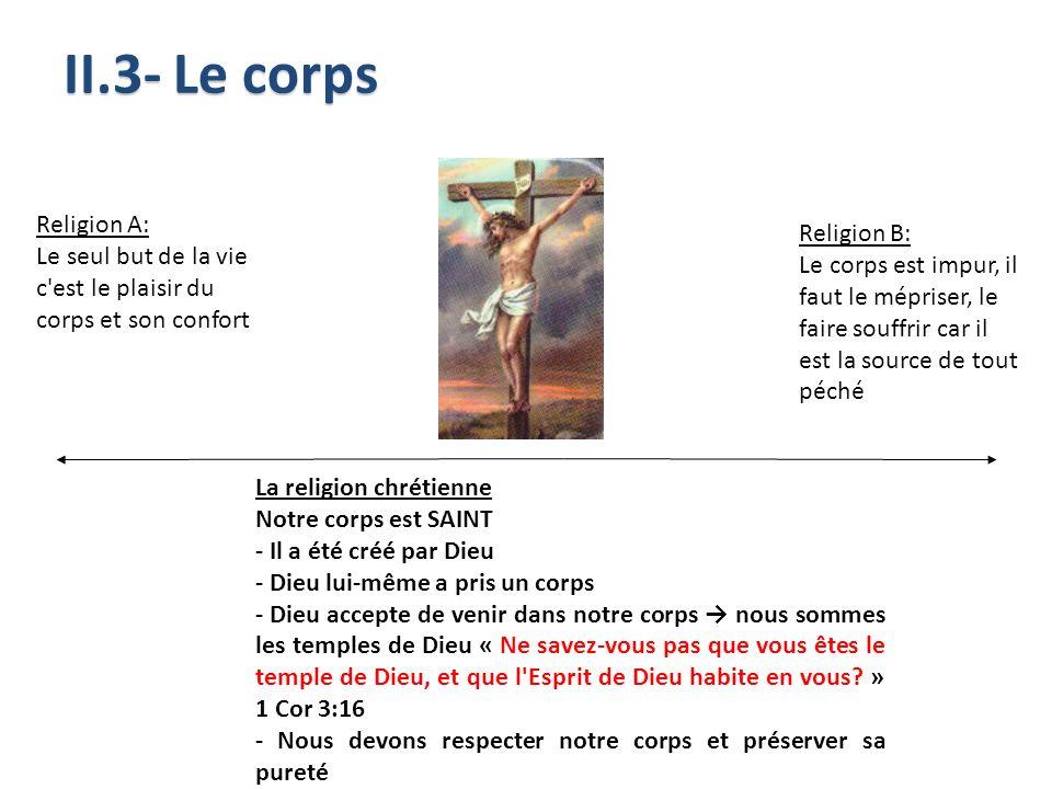 Religion A: Le seul but de la vie c'est le plaisir du corps et son confort La religion chrétienne Notre corps est SAINT - Il a été créé par Dieu - Die