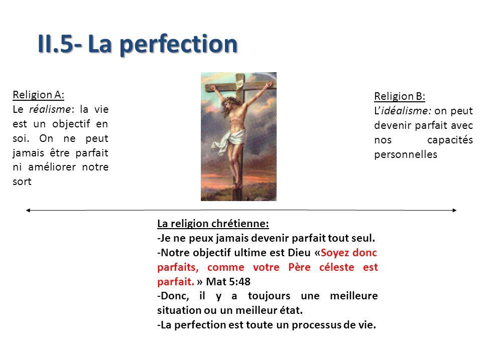 II.5- La perfection Religion A: Le réalisme: la vie est un objectif en soi. On ne peut jamais être parfait ni améliorer notre sort La religion chrétie