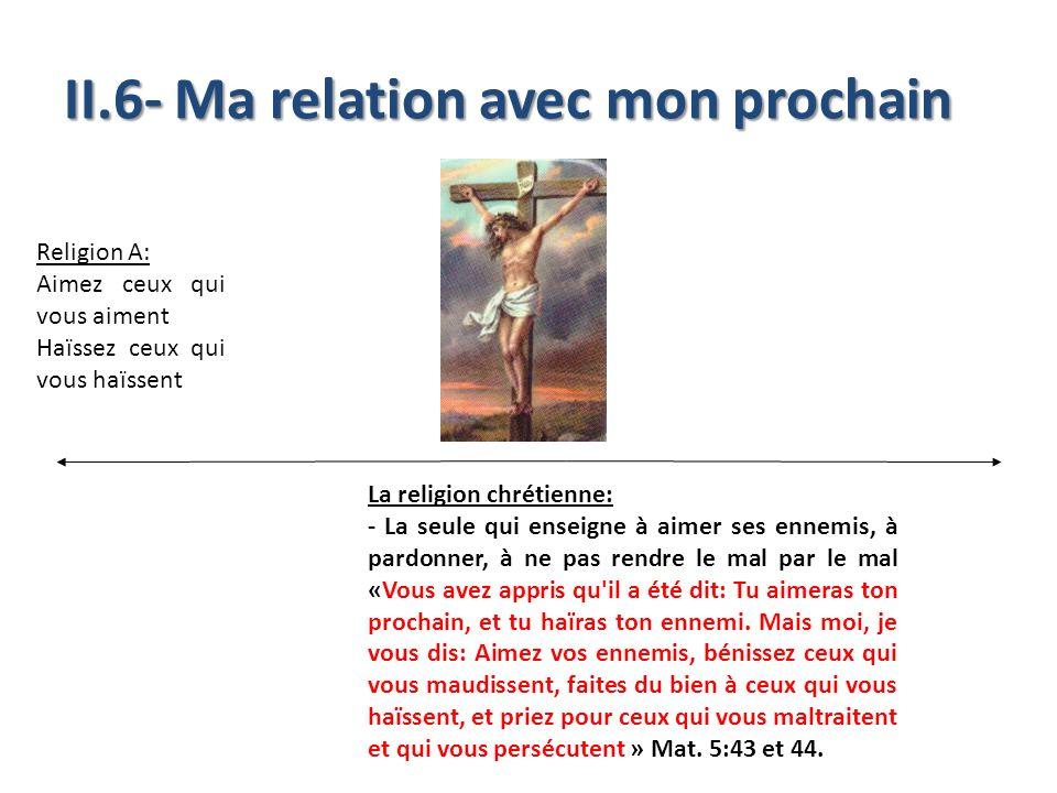 II.6- Ma relation avec mon prochain Religion A: Aimez ceux qui vous aiment Haïssez ceux qui vous haïssent La religion chrétienne: - La seule qui ensei