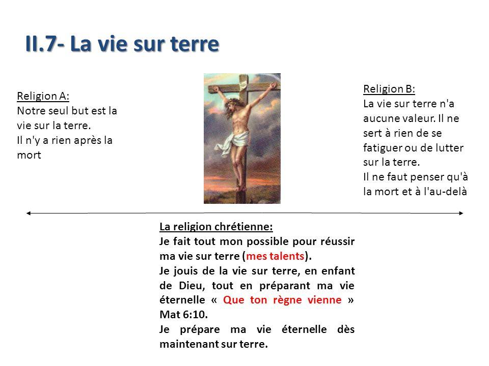II.7- La vie sur terre Religion A: Notre seul but est la vie sur la terre. Il n'y a rien après la mort La religion chrétienne: Je fait tout mon possib