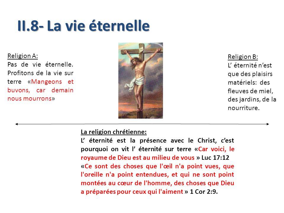 II.8- La vie éternelle La religion chrétienne: L éternité est la présence avec le Christ, cest pourquoi on vit l éternité sur terre «Car voici, le roy