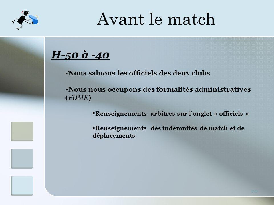 Avant le match 10 H-50 à -40 Nous saluons les officiels des deux clubs Nous nous occupons des formalités administratives (FDME) Renseignements arbitres sur longlet « officiels » Renseignements des indemnités de match et de déplacements