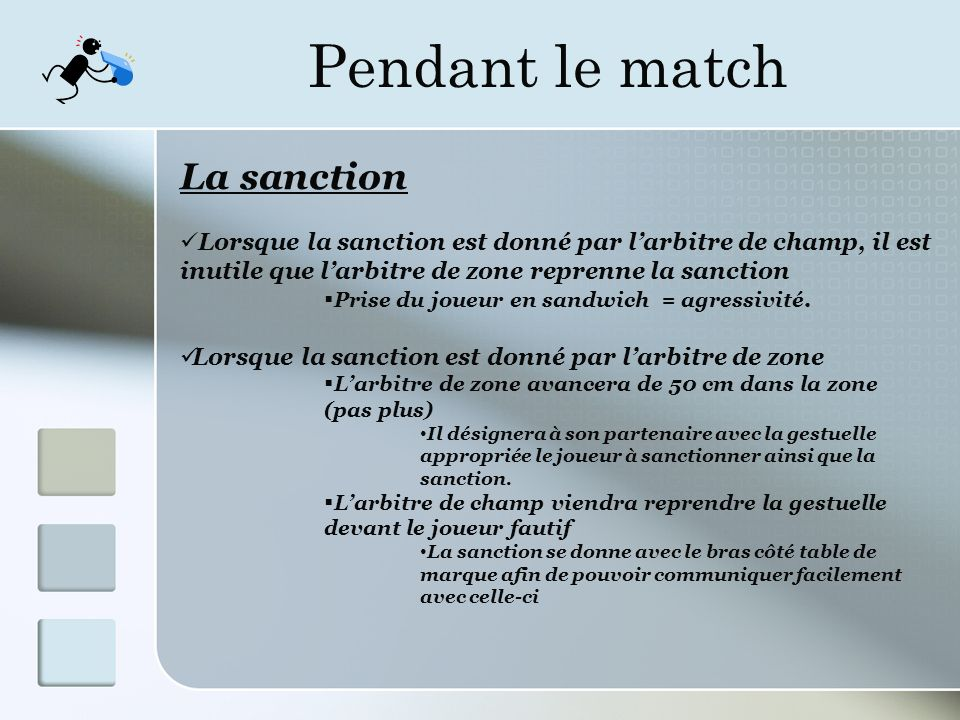 Pendant le match La sanction Lorsque la sanction est donné par larbitre de champ, il est inutile que larbitre de zone reprenne la sanction Prise du joueur en sandwich = agressivité.