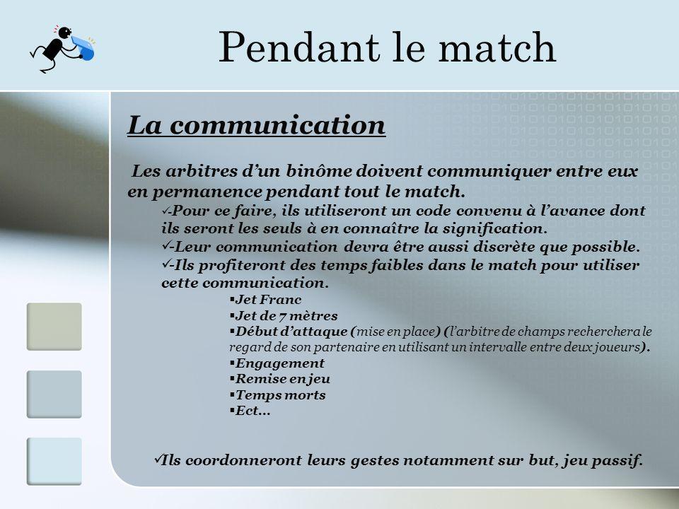 Pendant le match La communication Les arbitres dun binôme doivent communiquer entre eux en permanence pendant tout le match.