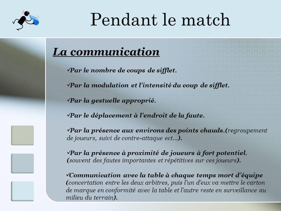 Pendant le match La communication Par le nombre de coups de sifflet.