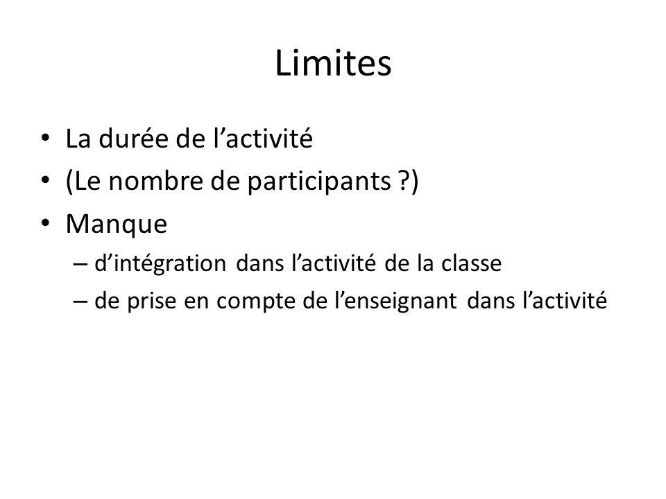 Limites La durée de lactivité (Le nombre de participants ) Manque – dintégration dans lactivité de la classe – de prise en compte de lenseignant dans lactivité