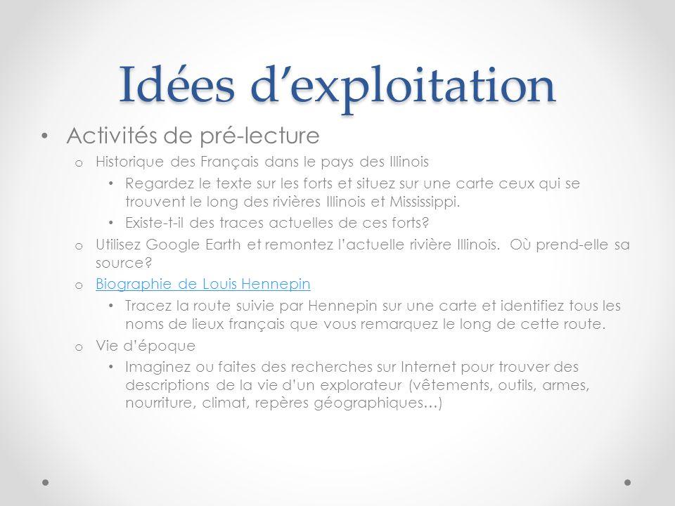 Idées dexploitation Activités de pré-lecture o Historique des Français dans le pays des Illinois Regardez le texte sur les forts et situez sur une car