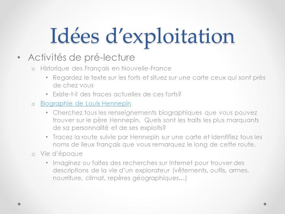 Idées dexploitation Activités de pré-lecture o Historique des Français en Nouvelle-France Regardez le texte sur les forts et situez sur une carte ceux