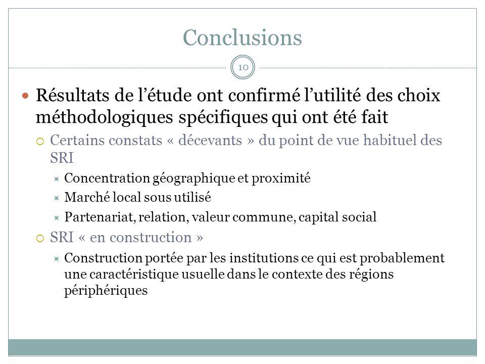 Conclusions Résultats de létude ont confirmé lutilité des choix méthodologiques spécifiques qui ont été fait Certains constats « décevants » du point