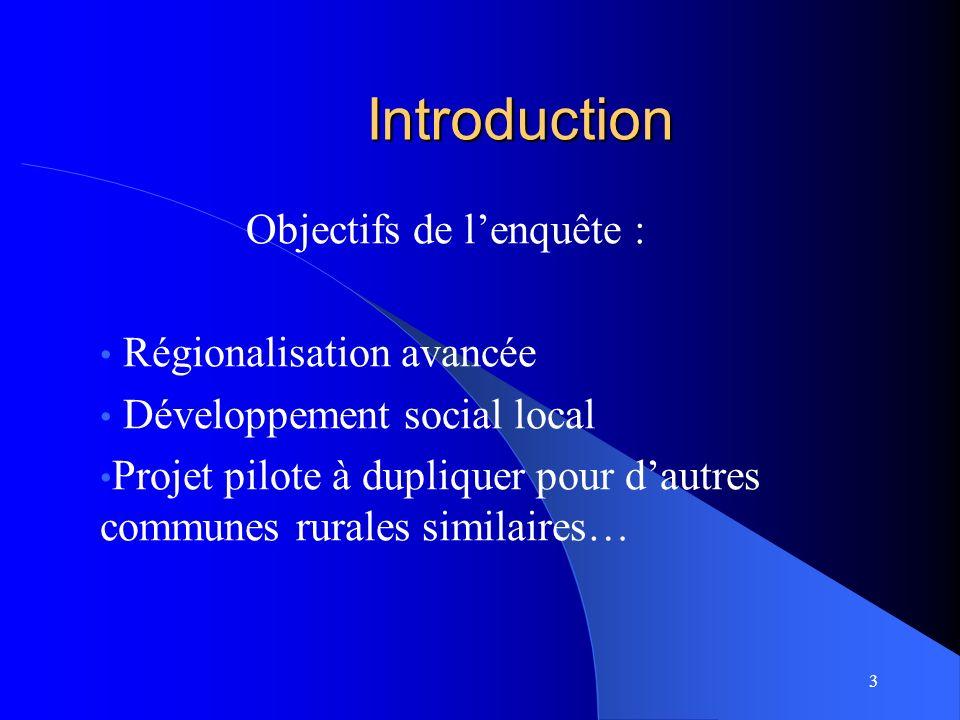 Introduction Objectifs de lenquête : Régionalisation avancée Développement social local Projet pilote à dupliquer pour dautres communes rurales similaires… 3