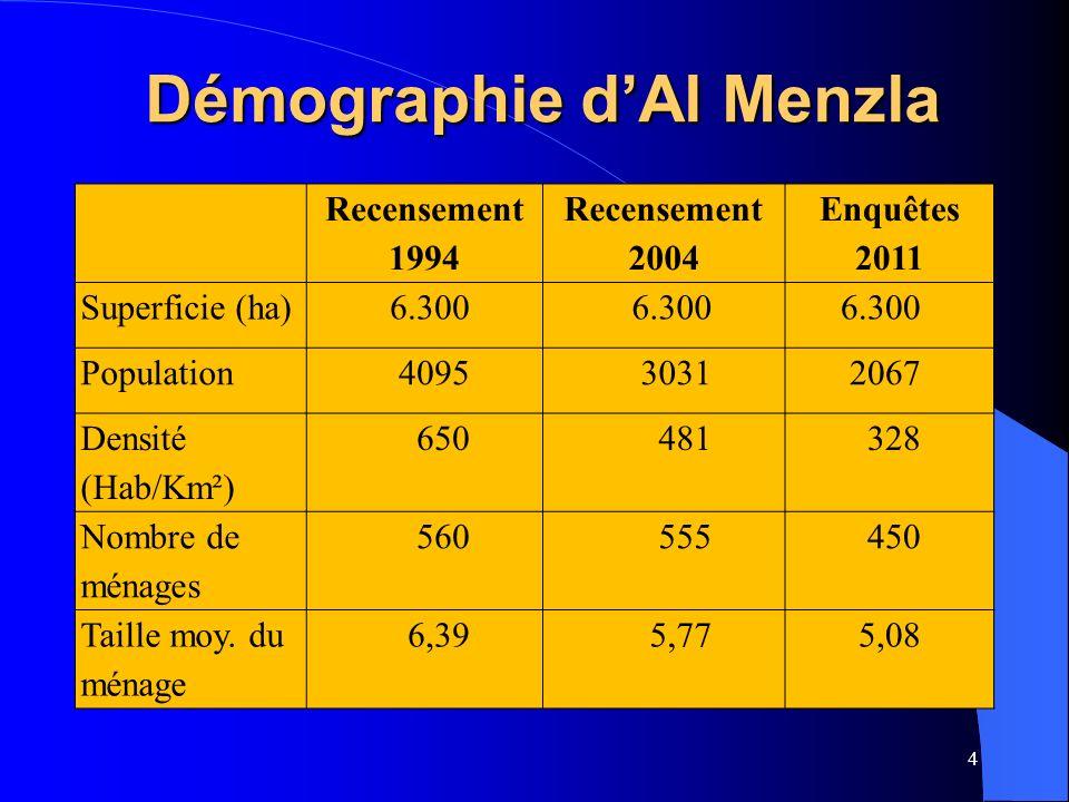4 Démographie dAl Menzla Recensement 1994 Recensement 2004 Enquêtes 2011 Superficie (ha)6.300 Population409530312067 Densité (Hab/Km²) 650481328 Nombre de ménages 560555450 Taille moy.