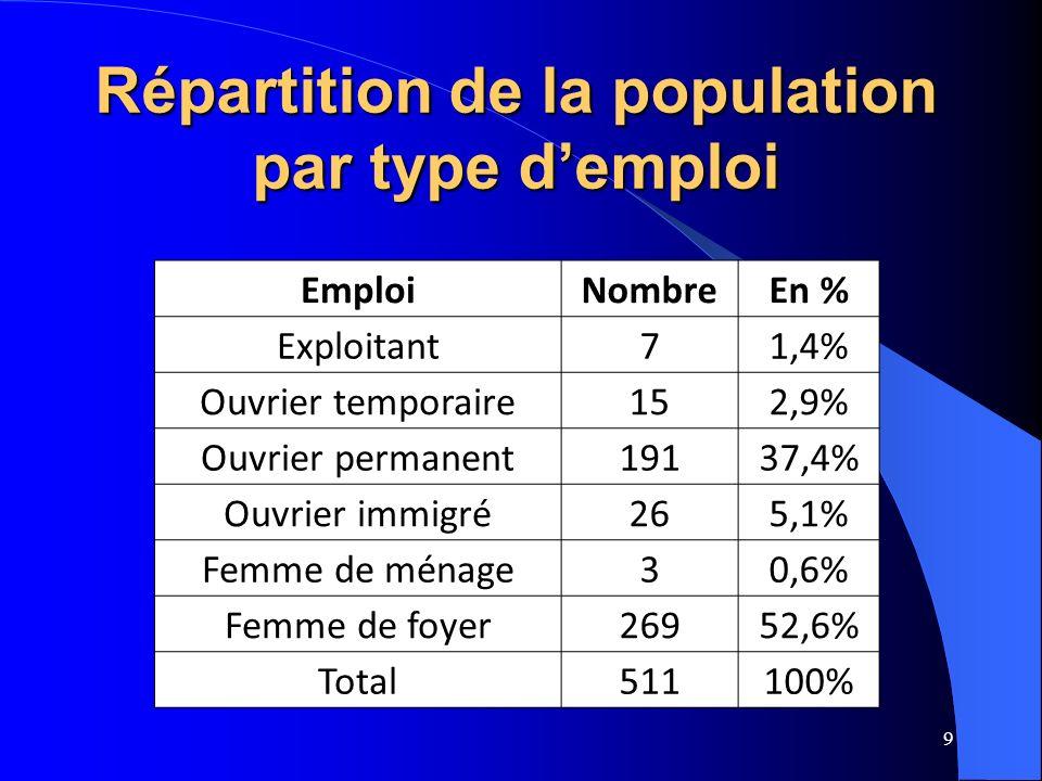 9 EmploiNombreEn % Exploitant71,4% Ouvrier temporaire152,9% Ouvrier permanent19137,4% Ouvrier immigré265,1% Femme de ménage30,6% Femme de foyer26952,6