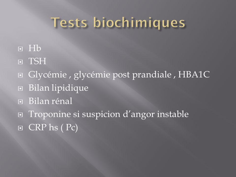 Hb TSH Glycémie, glycémie post prandiale, HBA1C Bilan lipidique Bilan rénal Troponine si suspicion dangor instable CRP hs ( Pc)