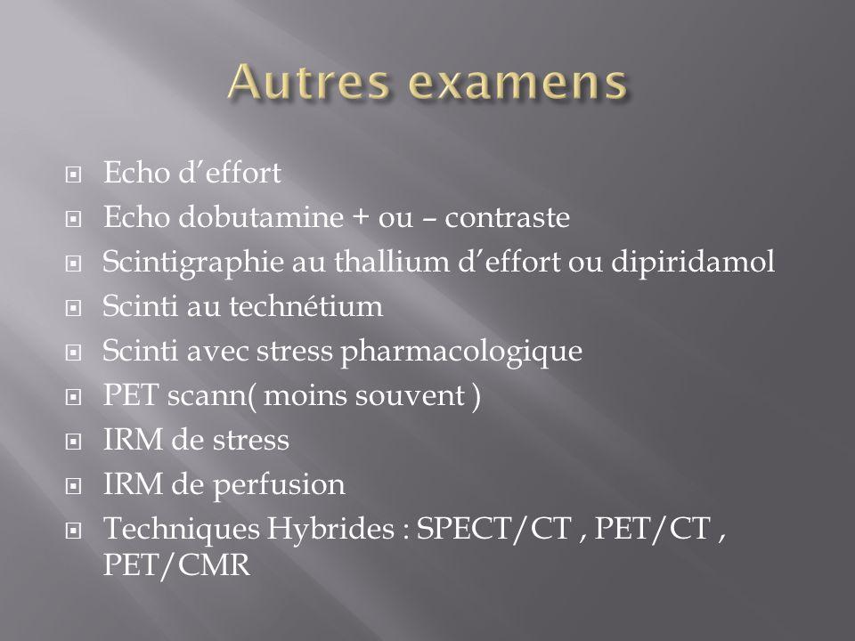 Echo deffort Echo dobutamine + ou – contraste Scintigraphie au thallium deffort ou dipiridamol Scinti au technétium Scinti avec stress pharmacologique