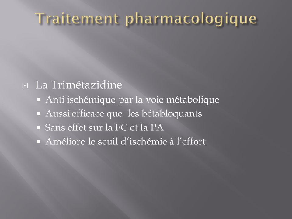 La Trimétazidine Anti ischémique par la voie métabolique Aussi efficace que les bétabloquants Sans effet sur la FC et la PA Améliore le seuil dischémi