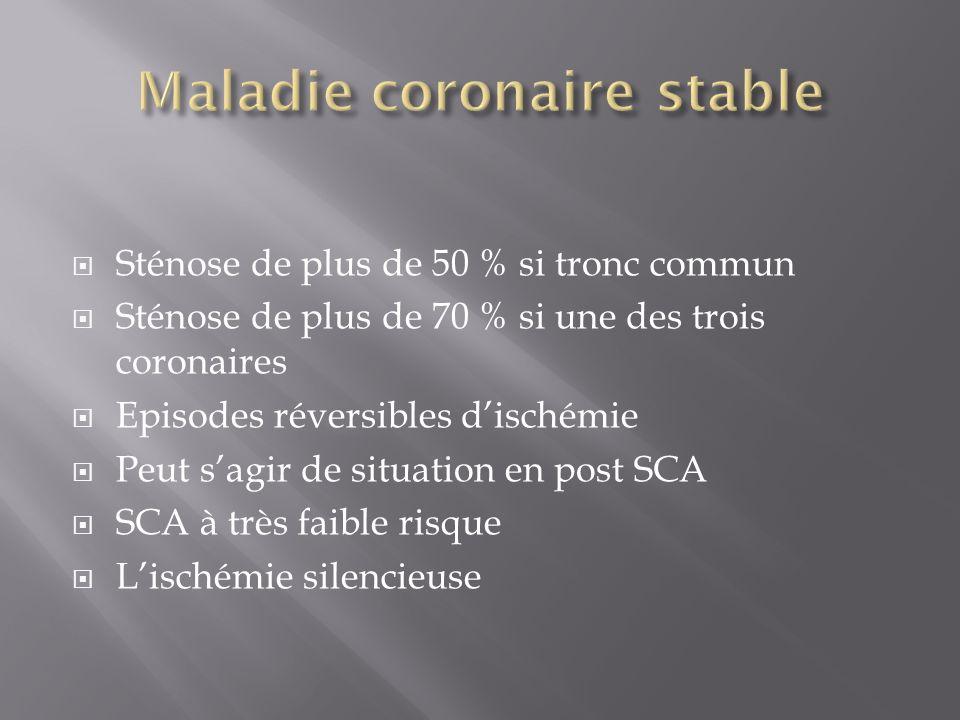 Sténose de plus de 50 % si tronc commun Sténose de plus de 70 % si une des trois coronaires Episodes réversibles dischémie Peut sagir de situation en