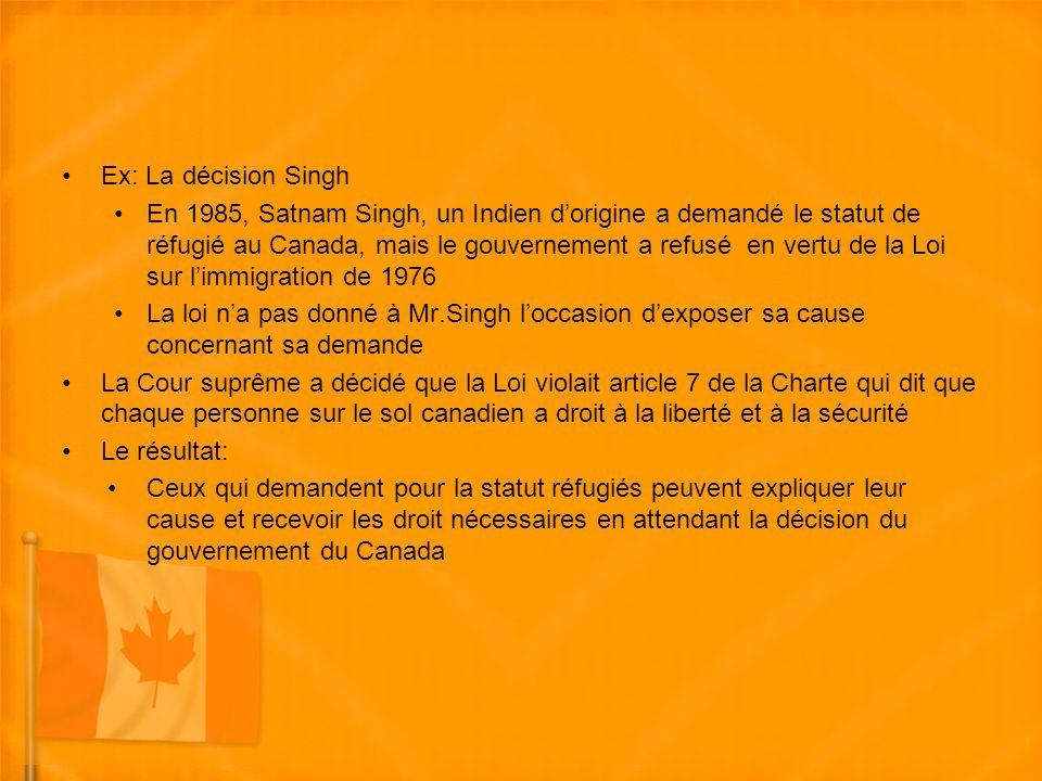 Ex: La décision Singh En 1985, Satnam Singh, un Indien dorigine a demandé le statut de réfugié au Canada, mais le gouvernement a refusé en vertu de la Loi sur limmigration de 1976 La loi na pas donné à Mr.Singh loccasion dexposer sa cause concernant sa demande La Cour suprême a décidé que la Loi violait article 7 de la Charte qui dit que chaque personne sur le sol canadien a droit à la liberté et à la sécurité Le résultat: Ceux qui demandent pour la statut réfugiés peuvent expliquer leur cause et recevoir les droit nécessaires en attendant la décision du gouvernement du Canada