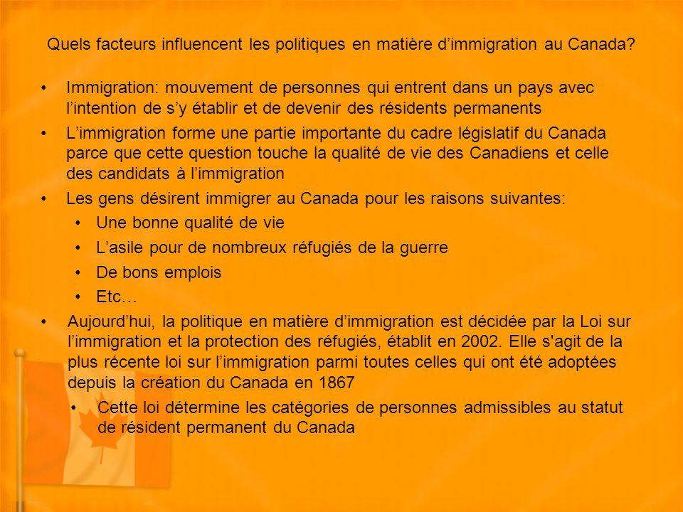 Quels facteurs influencent les politiques en matière dimmigration au Canada.