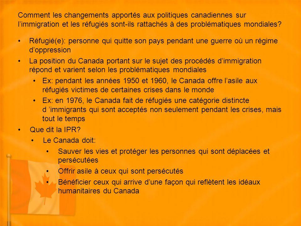 Comment les changements apportés aux politiques canadiennes sur limmigration et les réfugiés sont-ils rattachés à des problématiques mondiales.