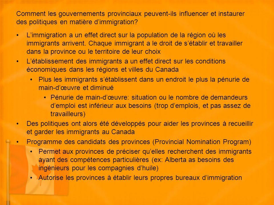 Comment les gouvernements provinciaux peuvent-ils influencer et instaurer des politiques en matière dimmigration.